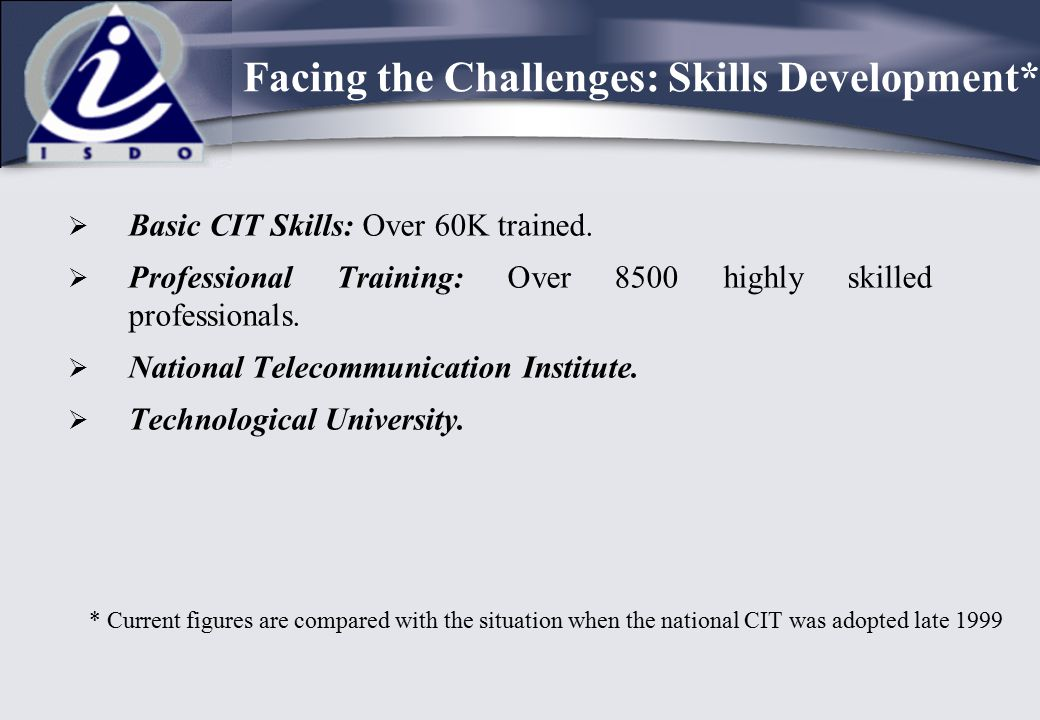 Facing the Challenges: Skills Development*