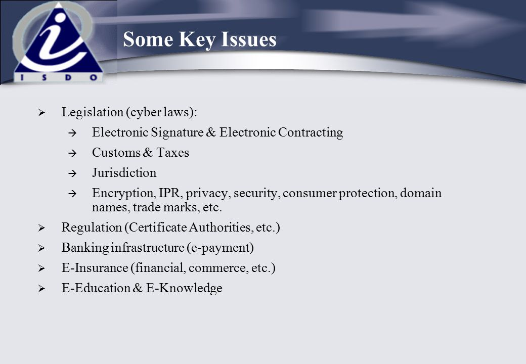 Some Key Issues Legislation (cyber laws):