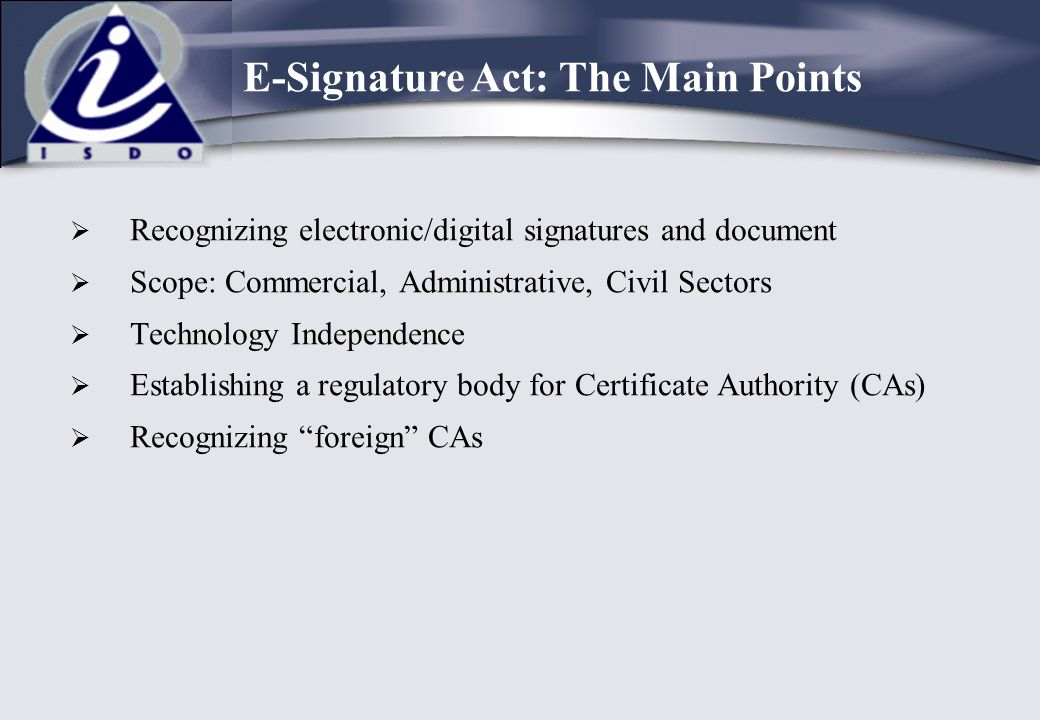 E-Signature Act: The Main Points