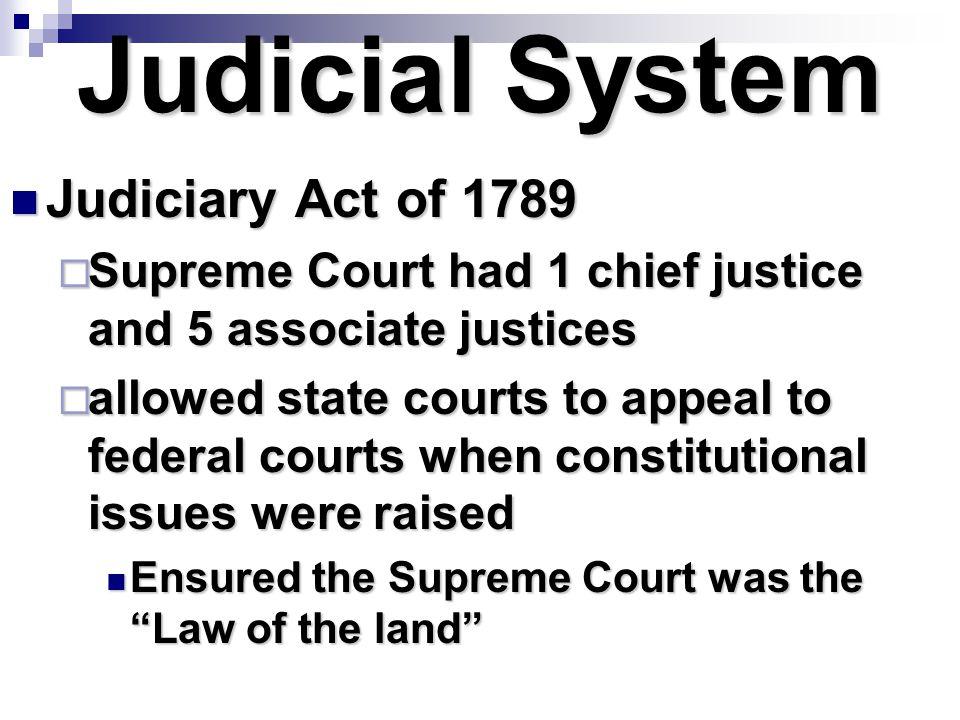 Judicial System Judiciary Act of 1789