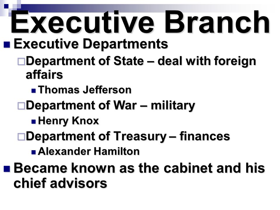 Executive Branch Executive Departments