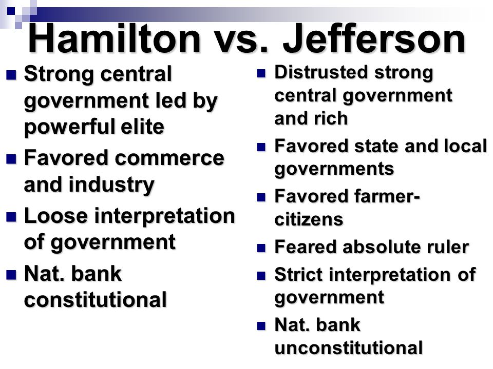 Hamilton vs. Jefferson Strong central government led by powerful elite