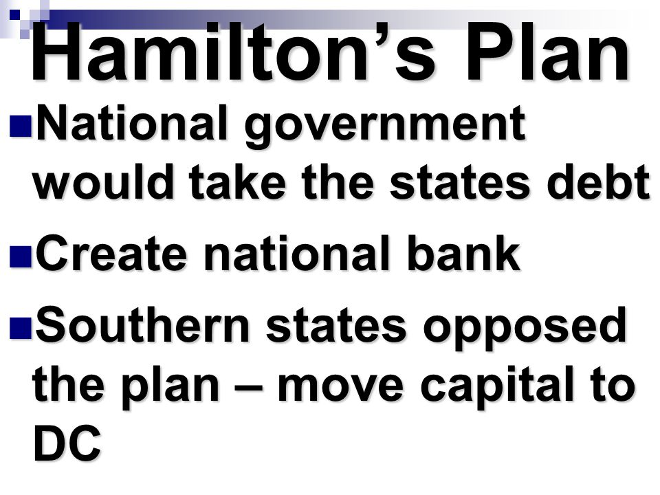 Hamilton's Plan National government would take the states debt
