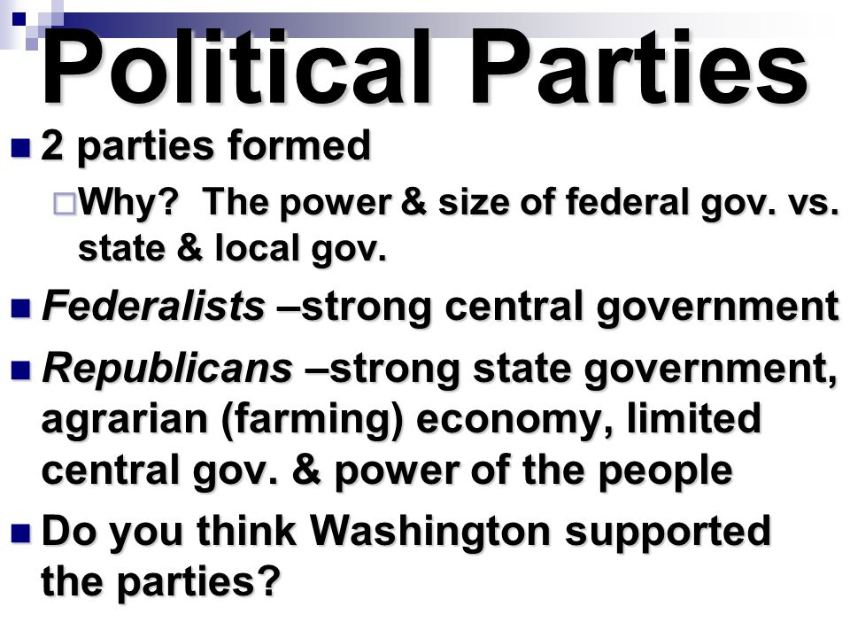Political Parties 2 parties formed