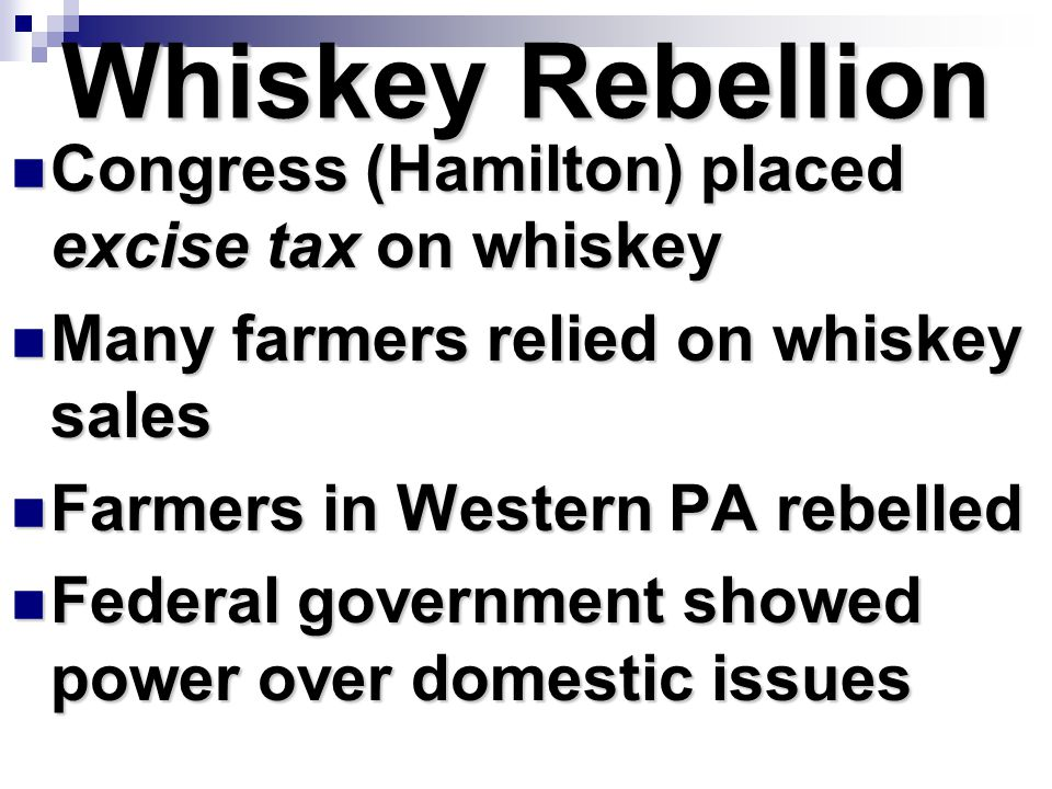 Whiskey Rebellion Congress (Hamilton) placed excise tax on whiskey