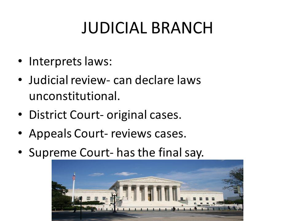 JUDICIAL BRANCH Interprets laws: