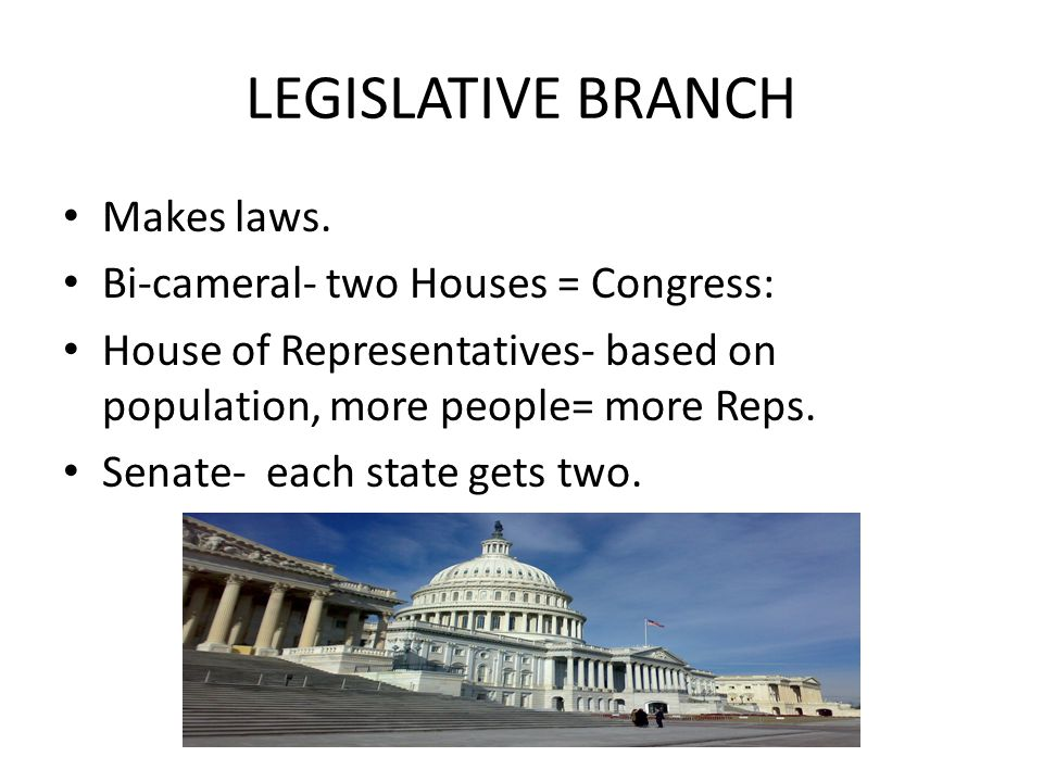 LEGISLATIVE BRANCH Makes laws. Bi-cameral- two Houses = Congress: