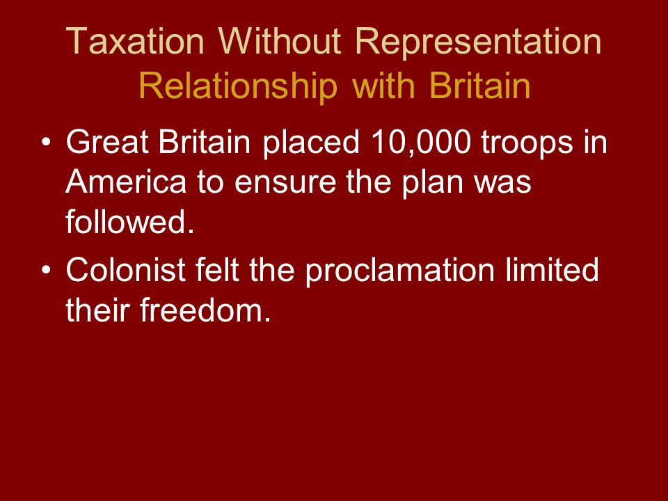 Taxation Without Representation Relationship with Britain