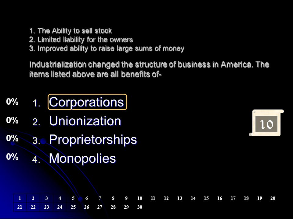 10 Corporations Unionization Proprietorships Monopolies