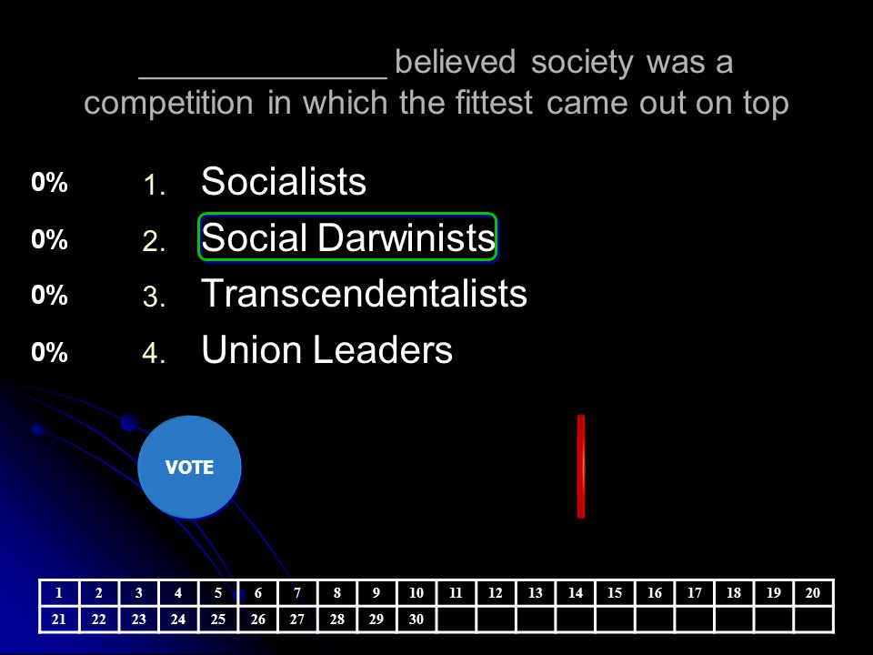 Socialists Social Darwinists Transcendentalists Union Leaders