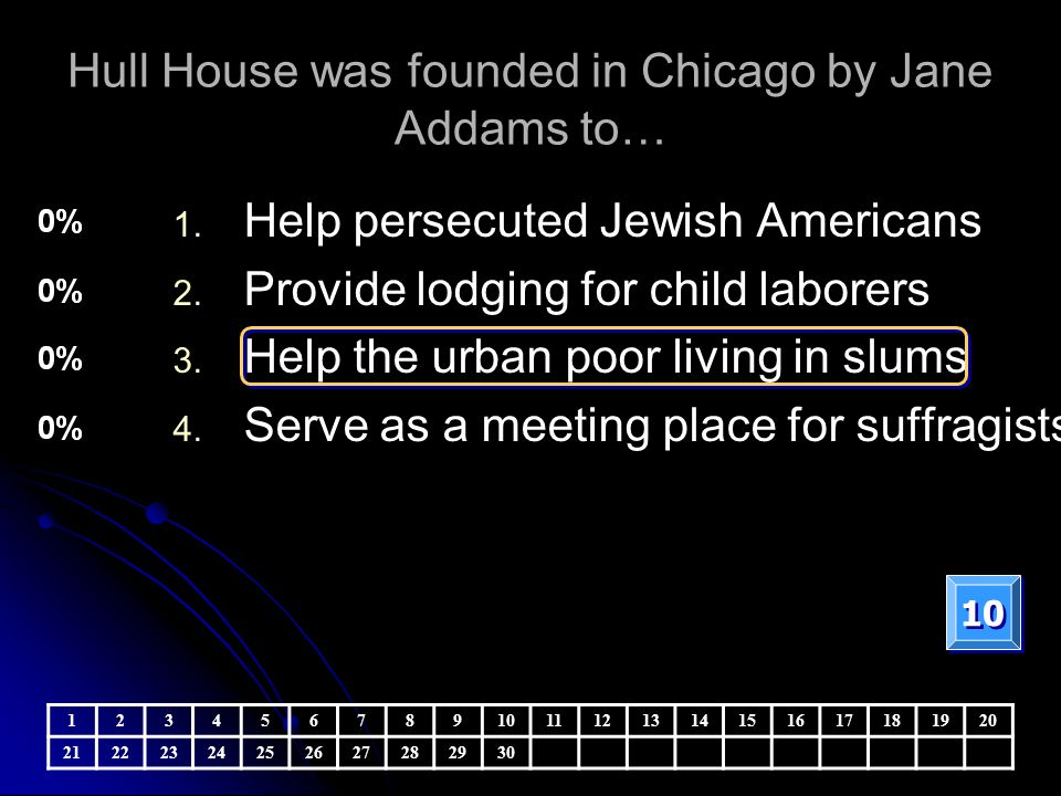 Hull House was founded in Chicago by Jane Addams to…