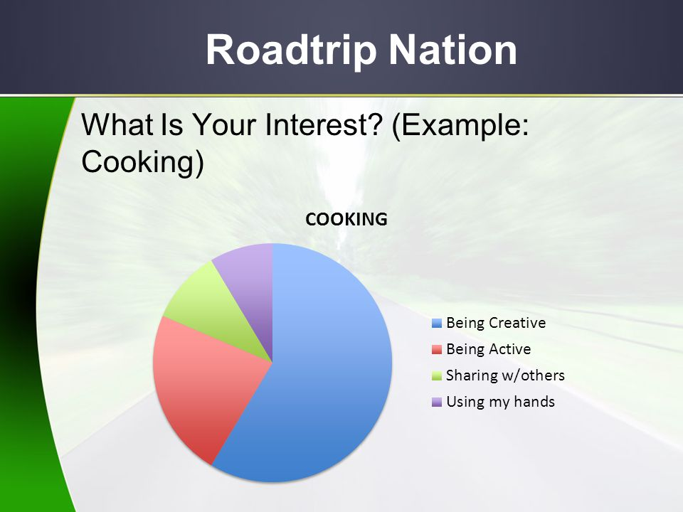 Roadtrip Nation What Is Your Interest (Example: Cooking)