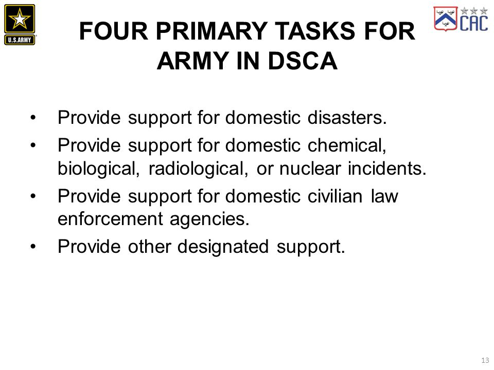 Four Primary Tasks for Army in DSCA