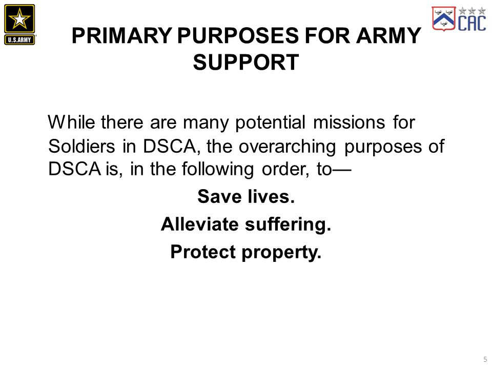 Primary Purposes for Army Support