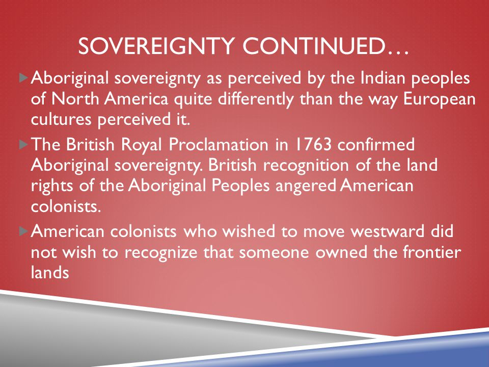 Sovereignty Continued…