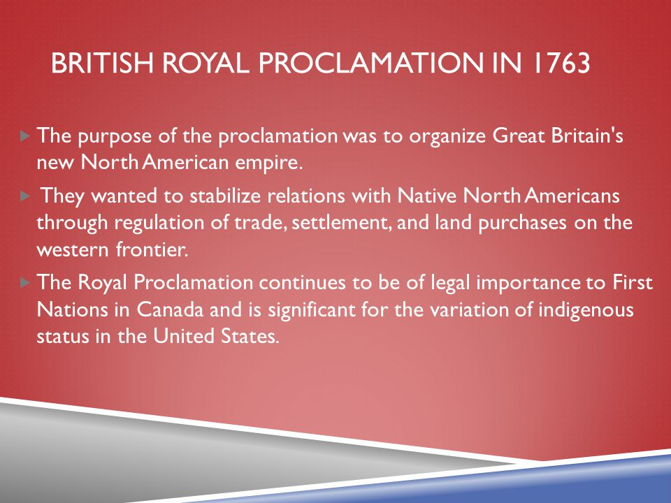 British Royal Proclamation in 1763
