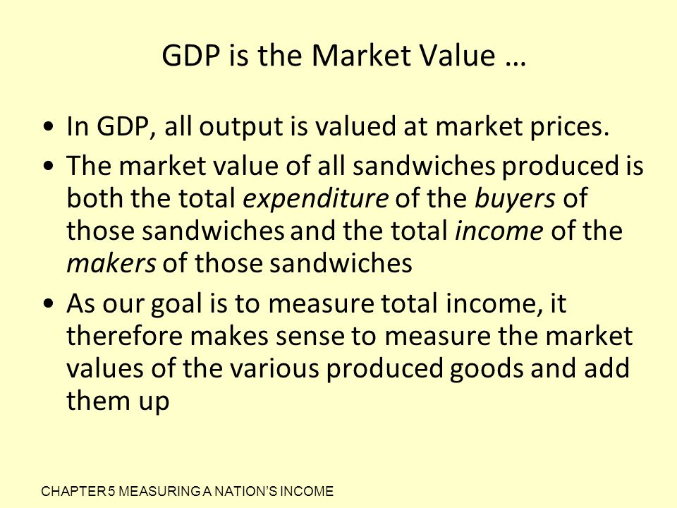 GDP is the Market Value …