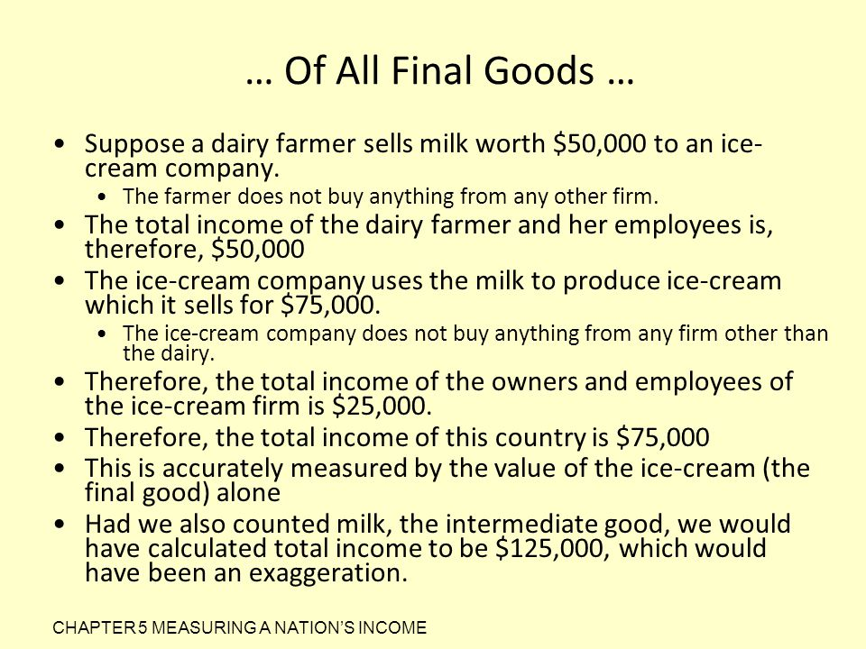 … Of All Final Goods … Suppose a dairy farmer sells milk worth $50,000 to an ice-cream company.