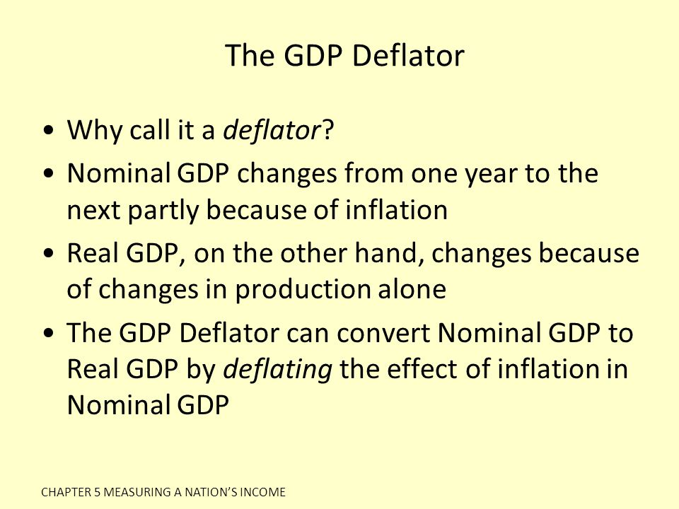 The GDP Deflator Why call it a deflator