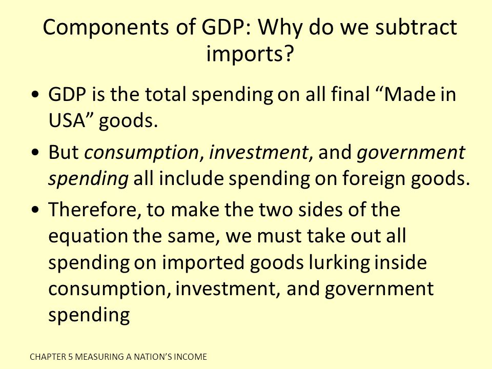 Components of GDP: Why do we subtract imports