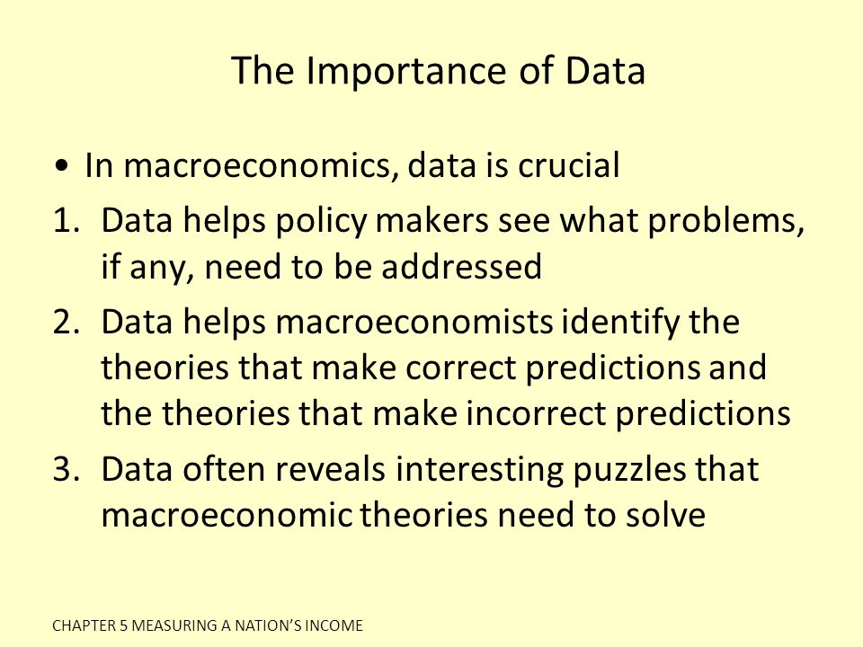 The Importance of Data In macroeconomics, data is crucial