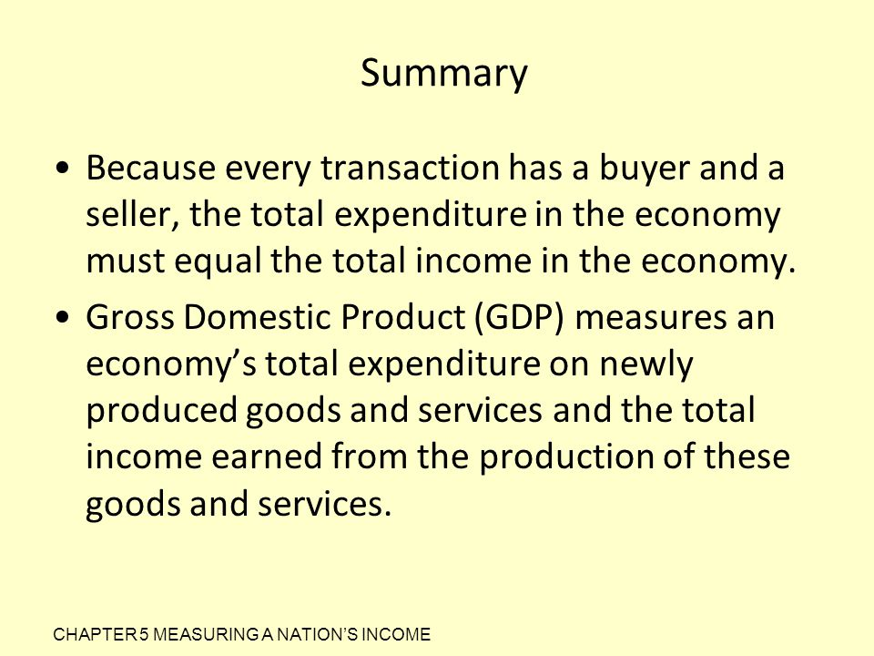 Summary Because every transaction has a buyer and a seller, the total expenditure in the economy must equal the total income in the economy.