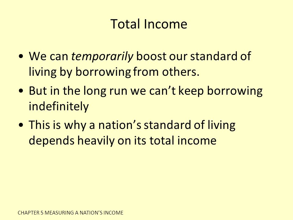 Total Income We can temporarily boost our standard of living by borrowing from others. But in the long run we can't keep borrowing indefinitely.