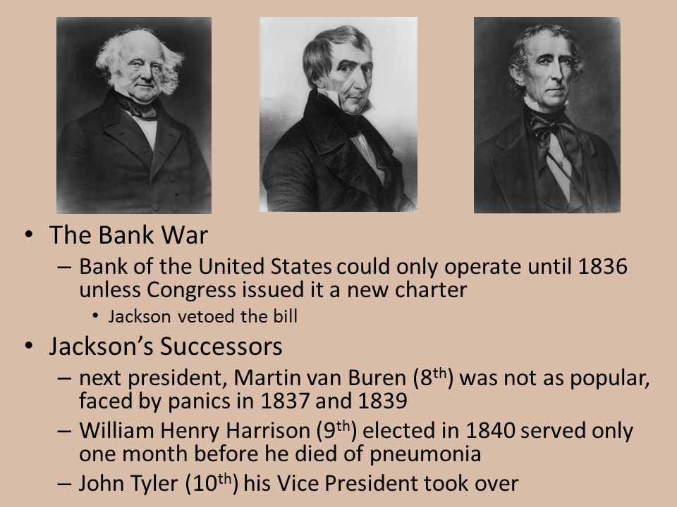 The Bank War Jackson's Successors