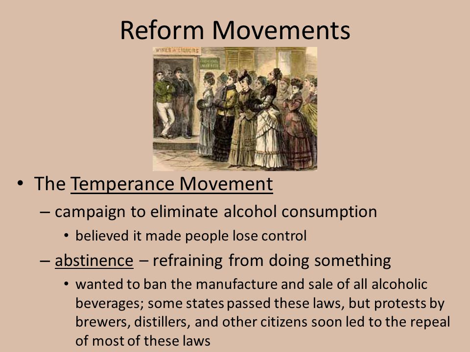 Reform Movements The Temperance Movement