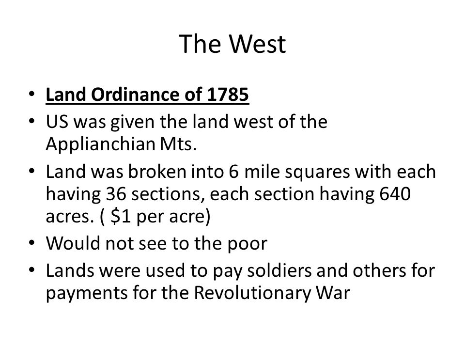 The West Land Ordinance of 1785