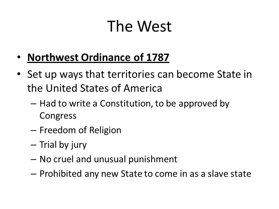 The West Northwest Ordinance of 1787