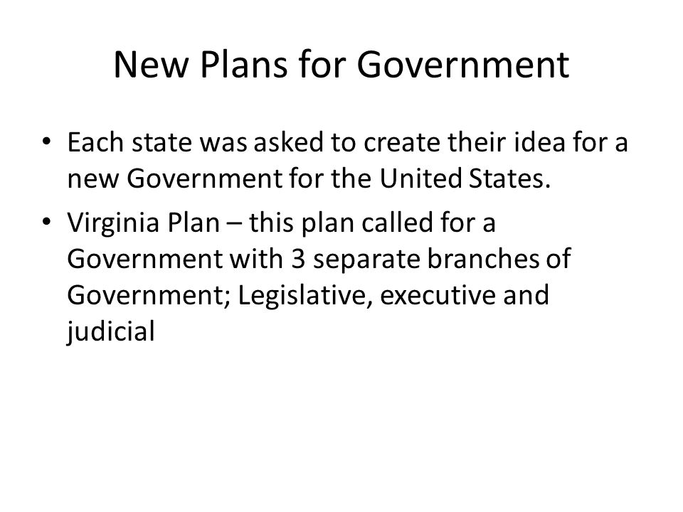 New Plans for Government