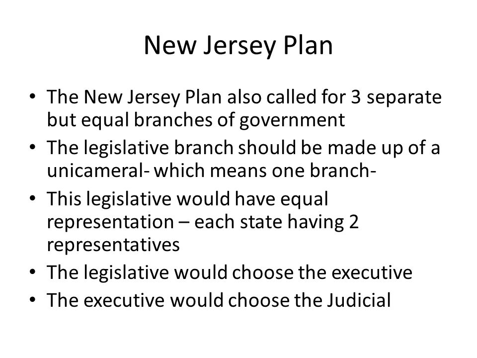 New Jersey Plan The New Jersey Plan also called for 3 separate but equal branches of government.