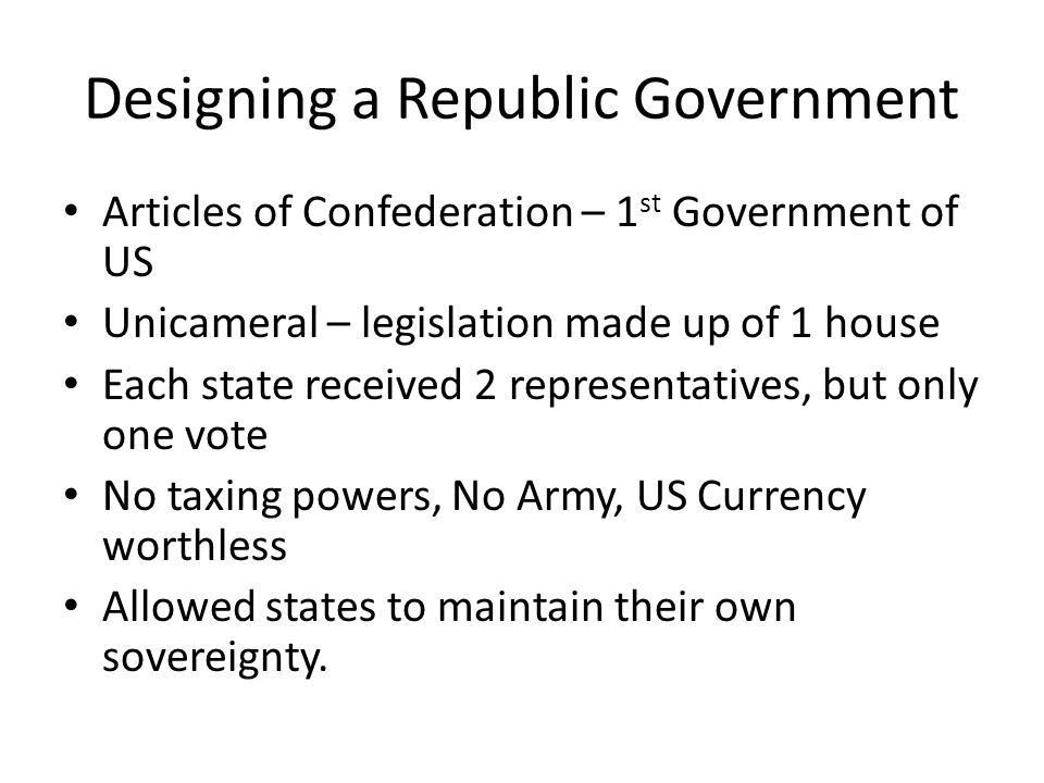 Designing a Republic Government