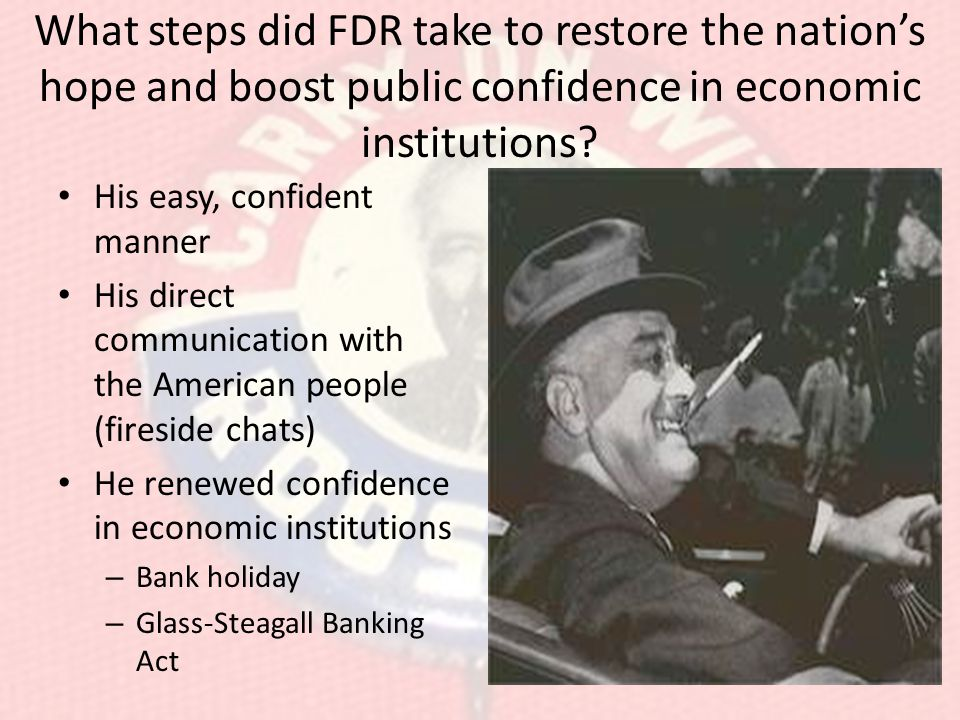 What steps did FDR take to restore the nation's hope and boost public confidence in economic institutions