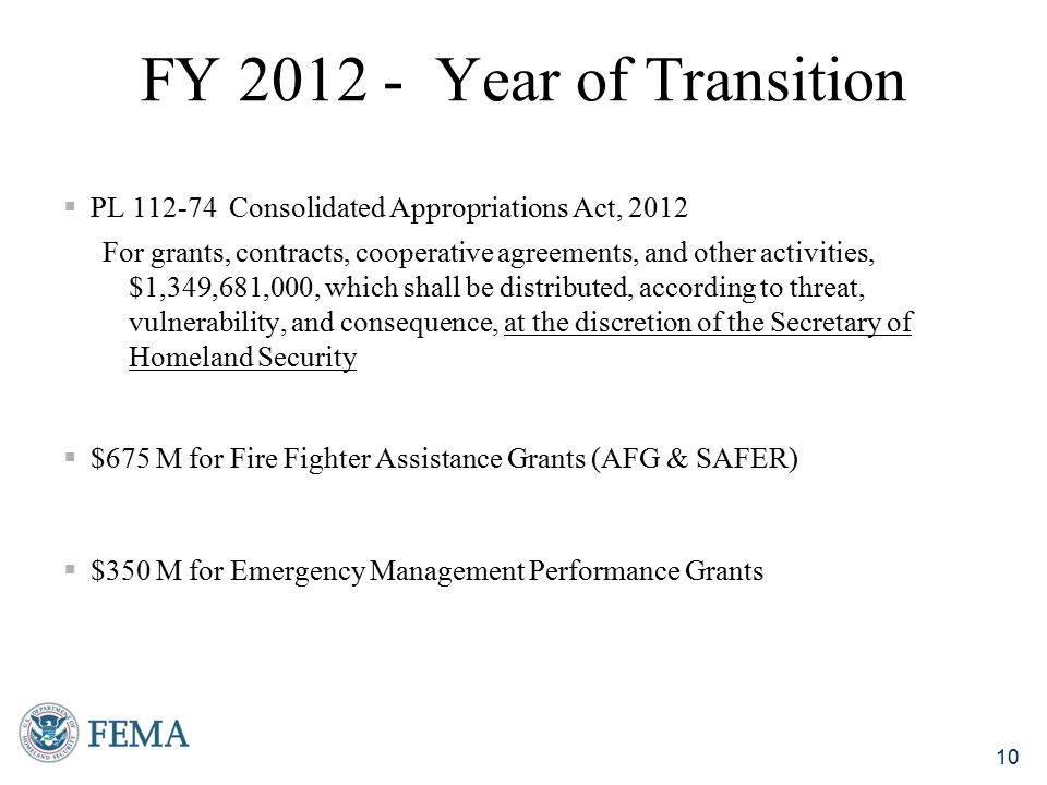 FY 2012 - Year of Transition PL 112-74 Consolidated Appropriations Act, 2012.