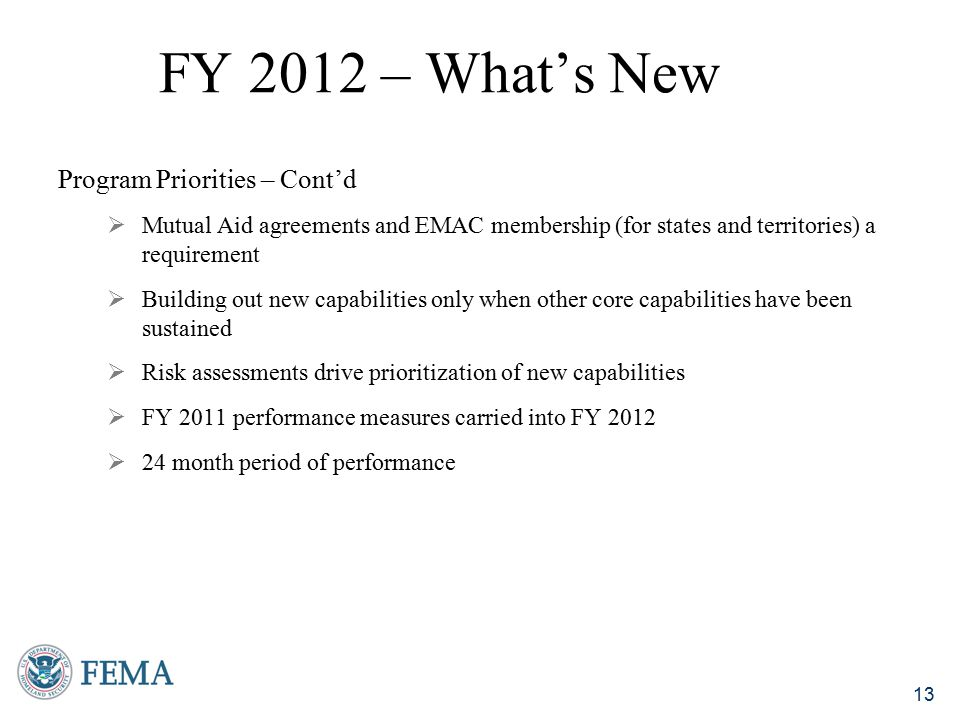 FY 2012 – What's New Program Priorities – Cont'd