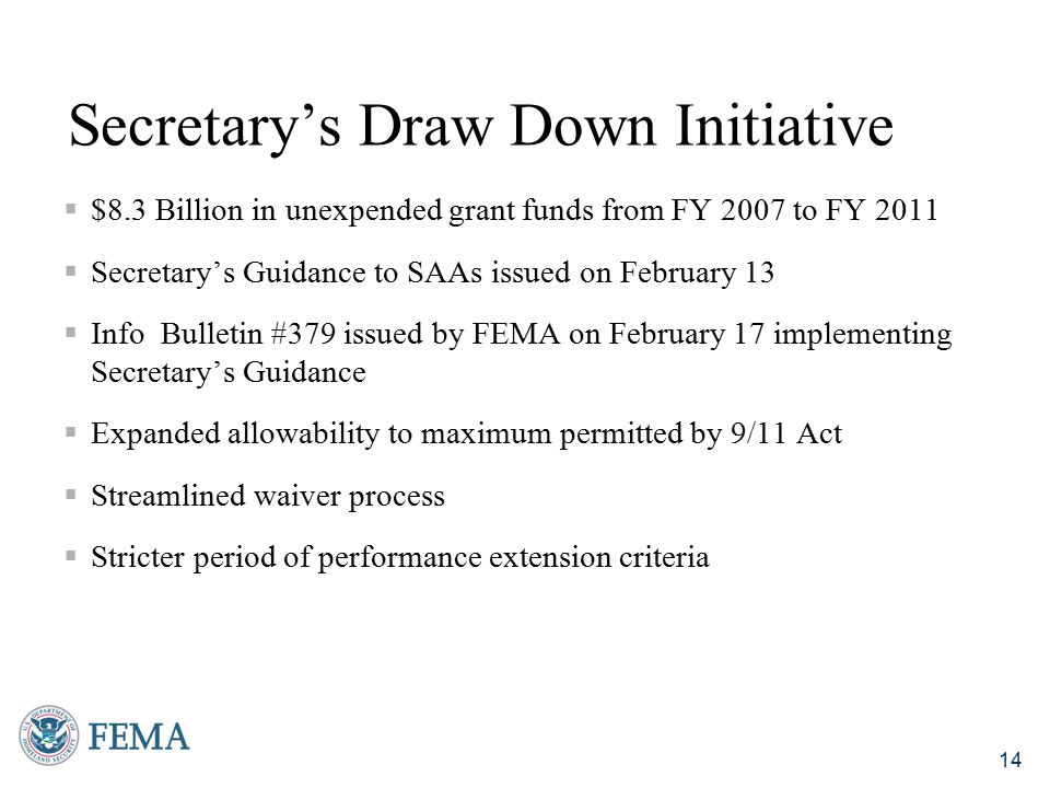 Secretary's Draw Down Initiative