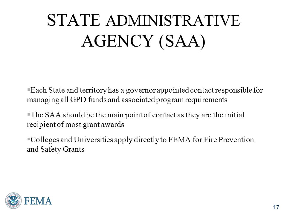 State Administrative Agency (SAA)