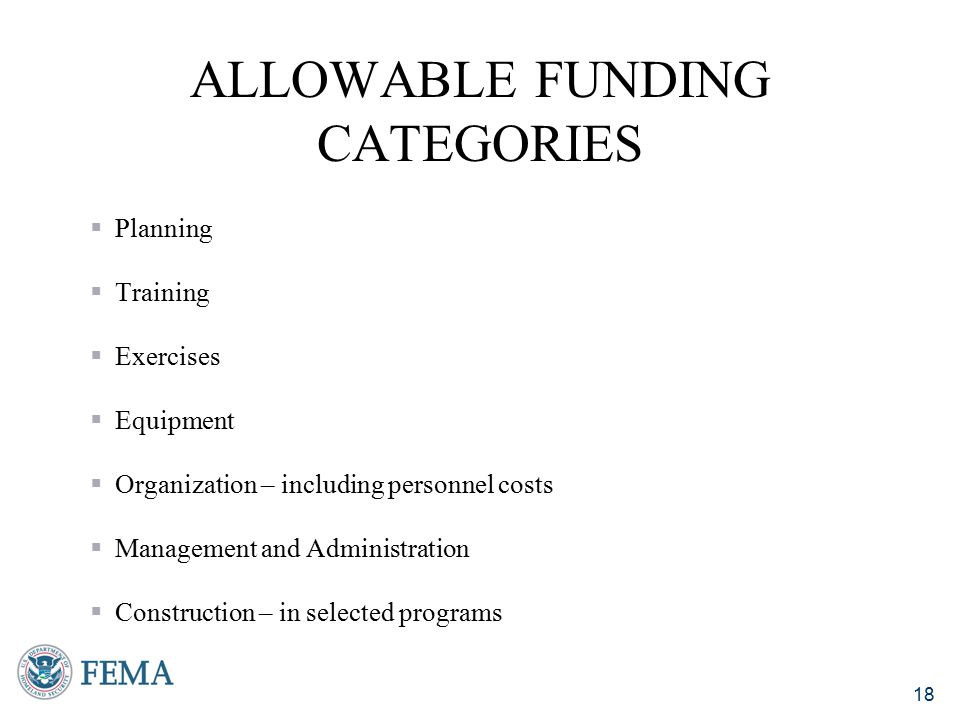 Allowable Funding Categories