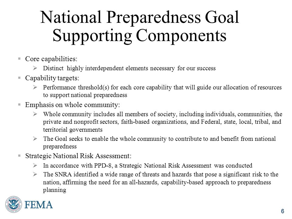 National Preparedness Goal Supporting Components