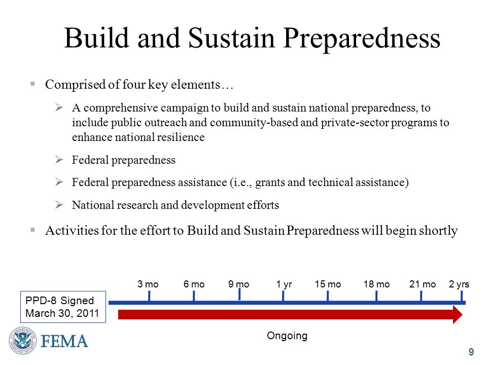 Build and Sustain Preparedness