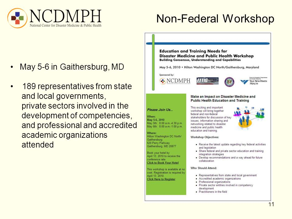 Non-Federal Workshop May 5-6 in Gaithersburg, MD