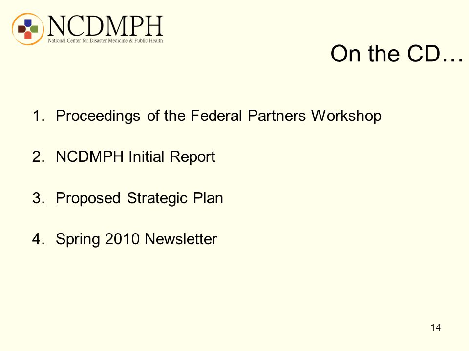 On the CD… Proceedings of the Federal Partners Workshop