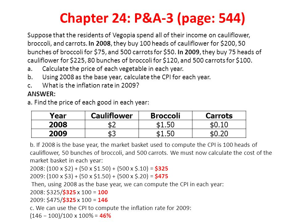Chapter 24: P&A-3 (page: 544) Year Cauliflower Broccoli Carrots 2008