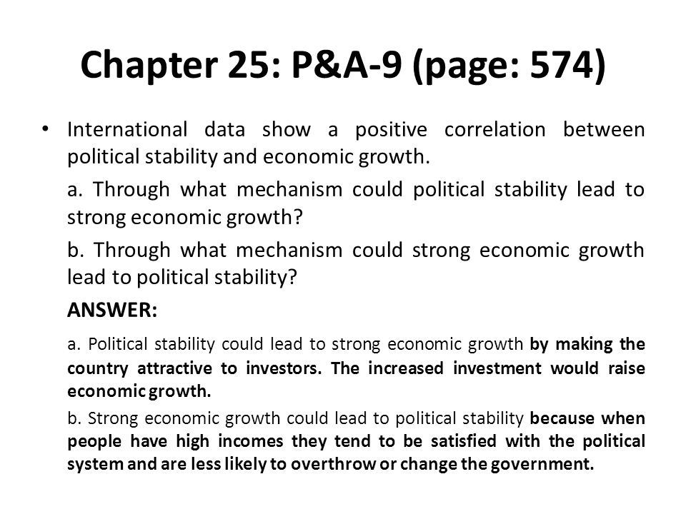 Chapter 25: P&A-9 (page: 574) International data show a positive correlation between political stability and economic growth.