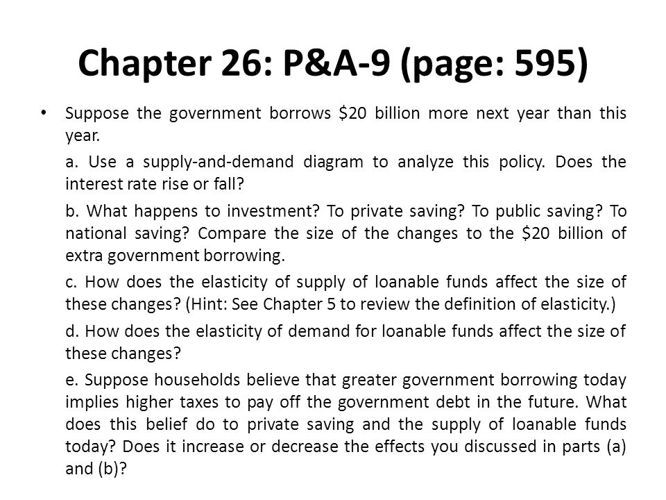 Chapter 26: P&A-9 (page: 595) Suppose the government borrows $20 billion more next year than this year.