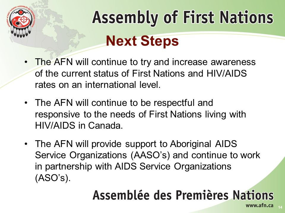 Next Steps The AFN will continue to try and increase awareness of the current status of First Nations and HIV/AIDS rates on an international level.