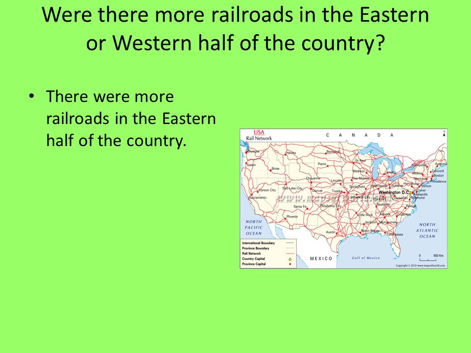 Were there more railroads in the Eastern or Western half of the country