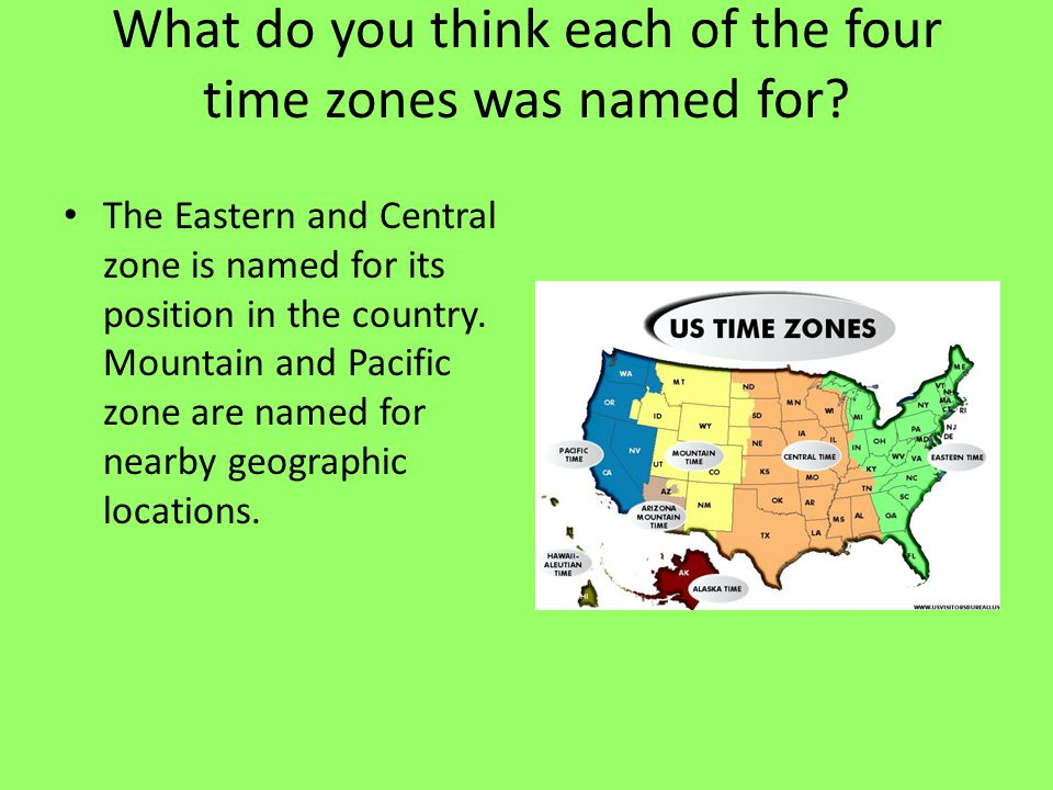 What do you think each of the four time zones was named for
